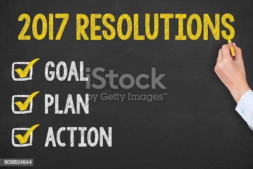 istock New Year 2017 Resolution on Chalkboard Background 609804644