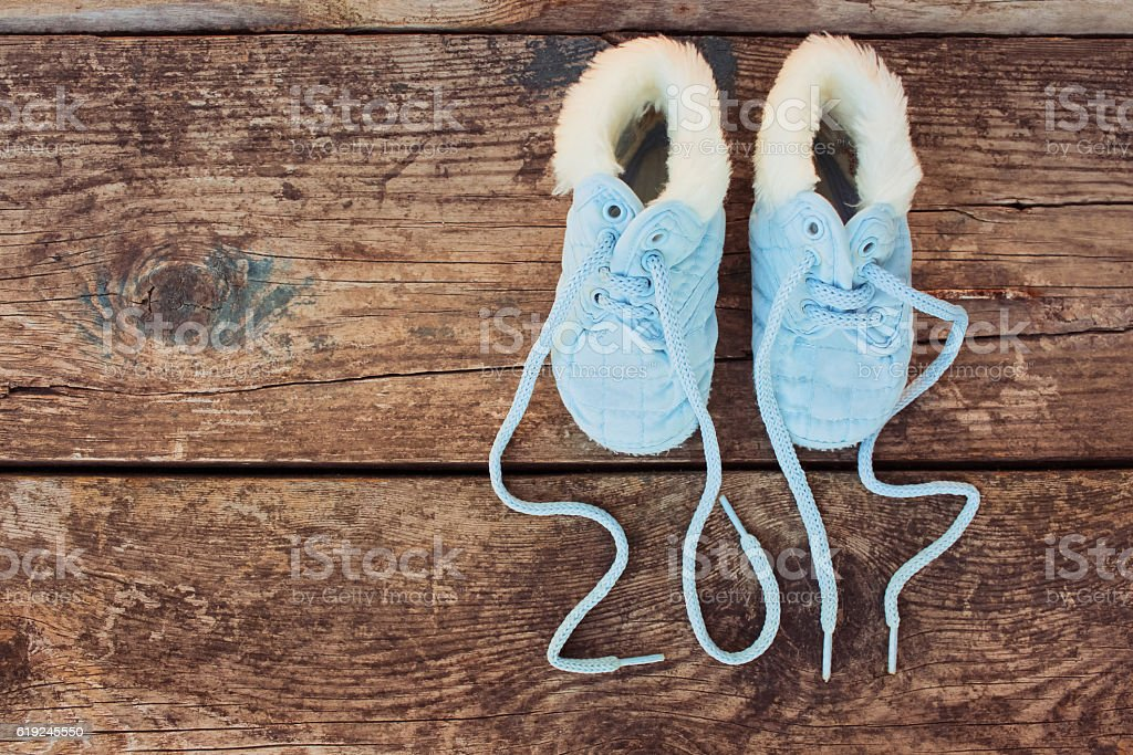 new year 2017 written laces of children's shoes stock photo