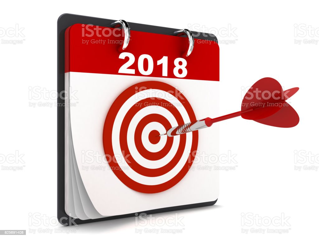 New year 2018 calendar target stock photo