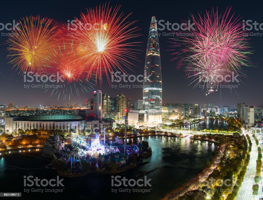 new year 2018 celebration fireworks in seoul with seoul city in background south korea