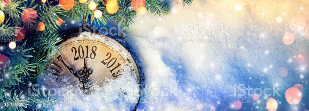 New Year 2018 - Celebration With Dial Clock On Snow - Vintage Filter stock photo