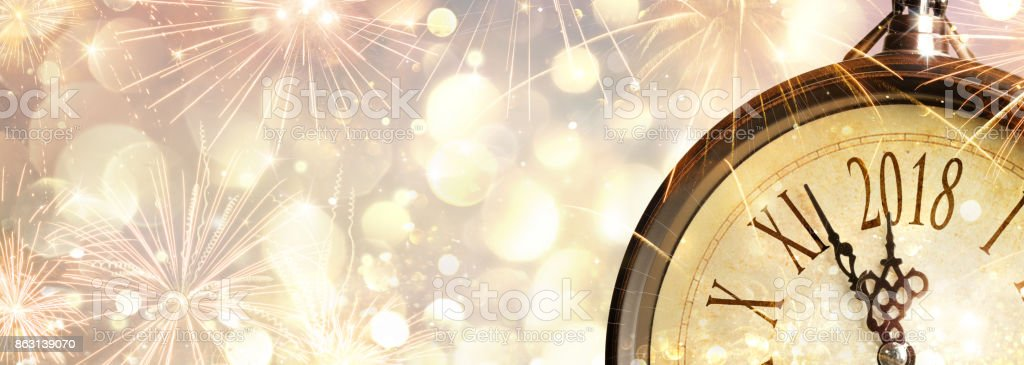 New Year 2018 Celebration With Dial Clock stock photo