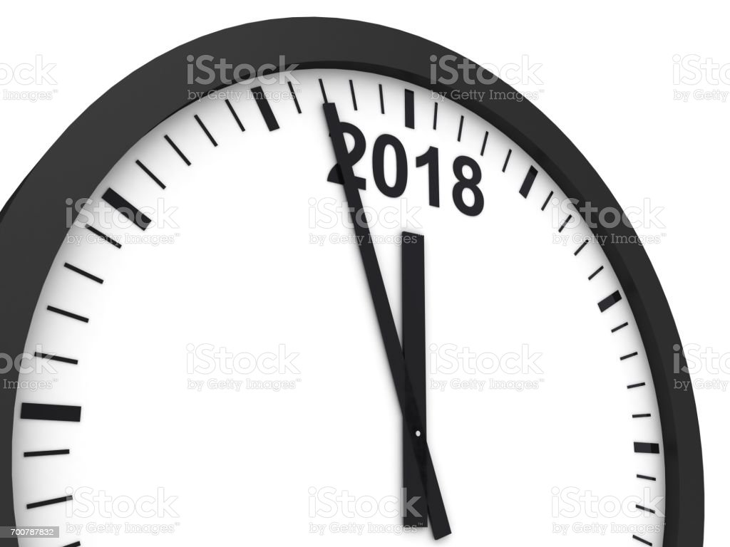 New year 2018 clock time stock photo