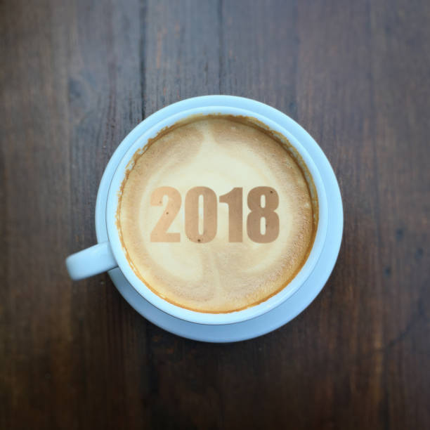 New year 2018 coffee stock photo