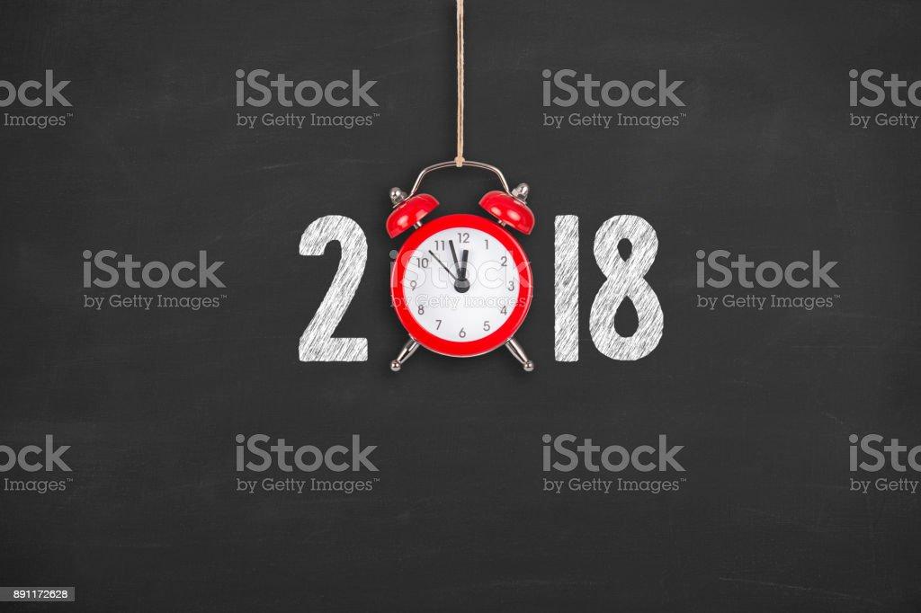 New Year 2018 Countdown Clock on Chalkboard