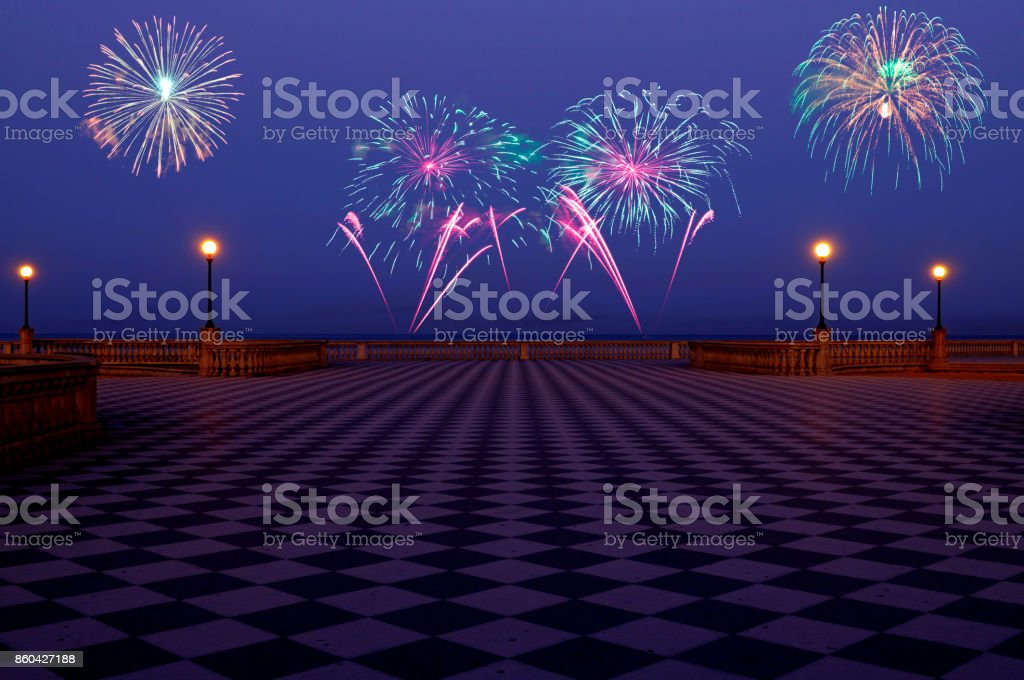 New Year 2018 fireworks on terrace by the sea stock photo