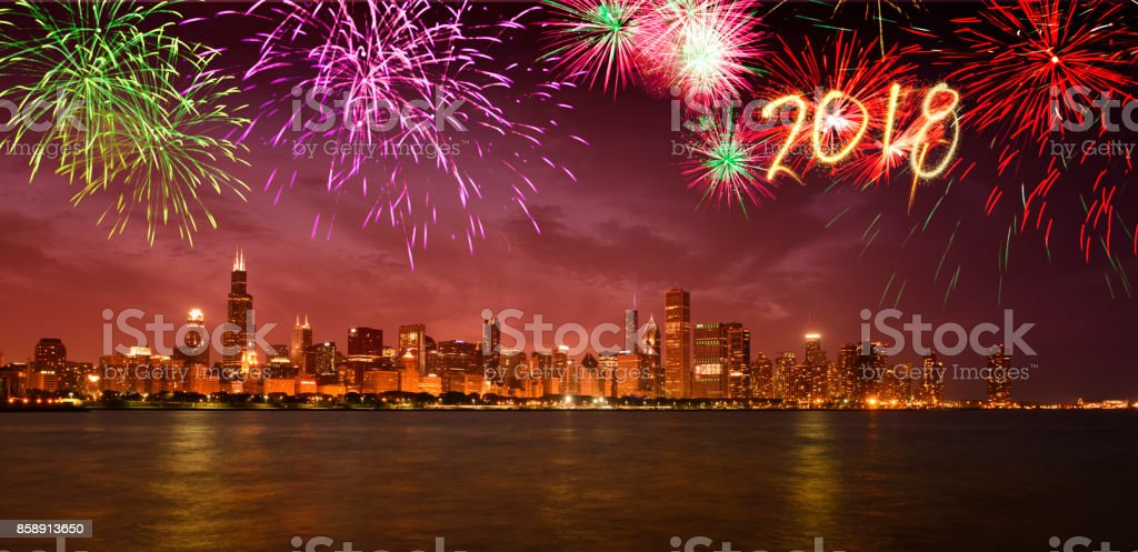 New Year 2018 fireworks over Chicago, Illinois, USA stock photo
