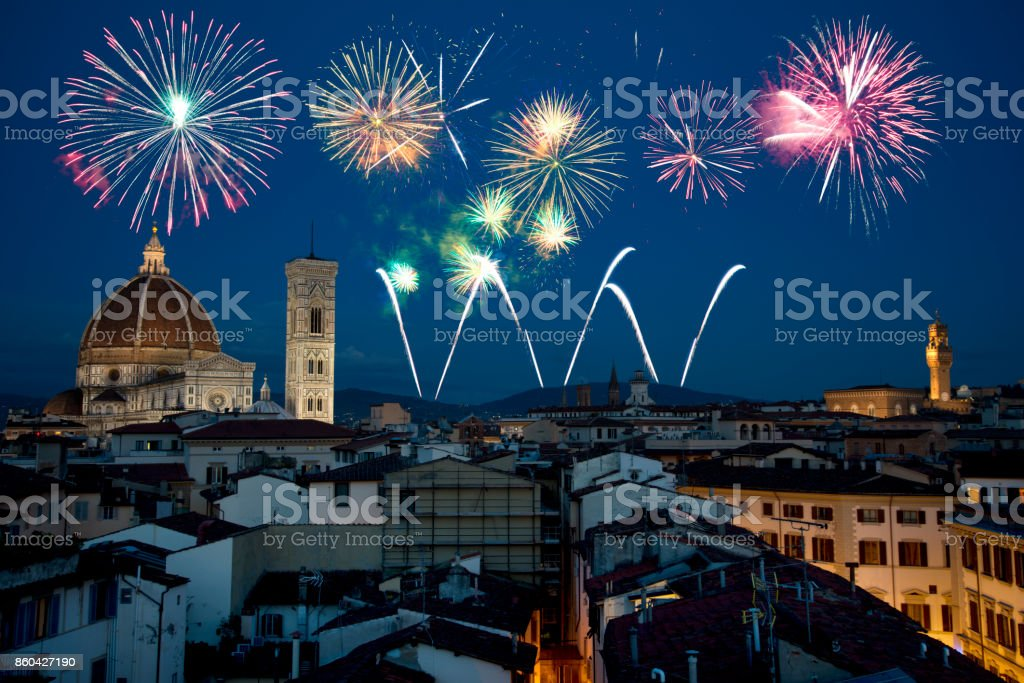 New Year 2018 fireworks over Florence, Tuscany, Italy stock photo
