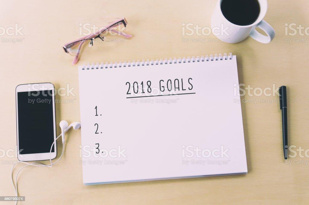 Metas de año nuevo 2018 foto de stock libre de derechos