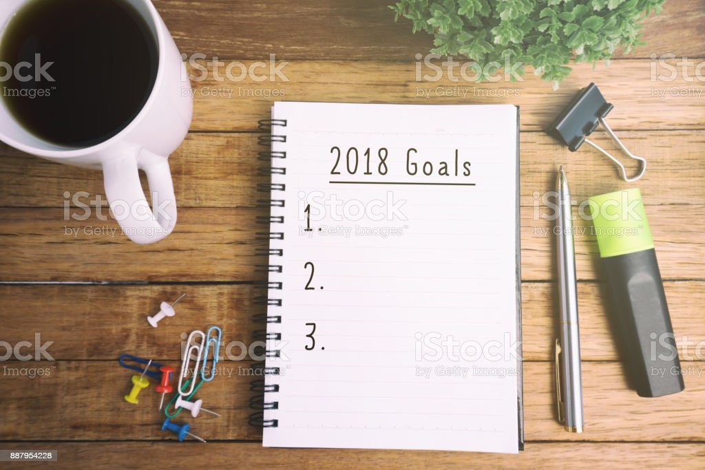 New Year 2018 Goals stock photo