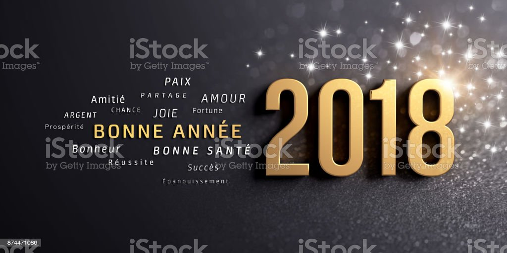 New Year 2018 Greeting card in French vector art illustration