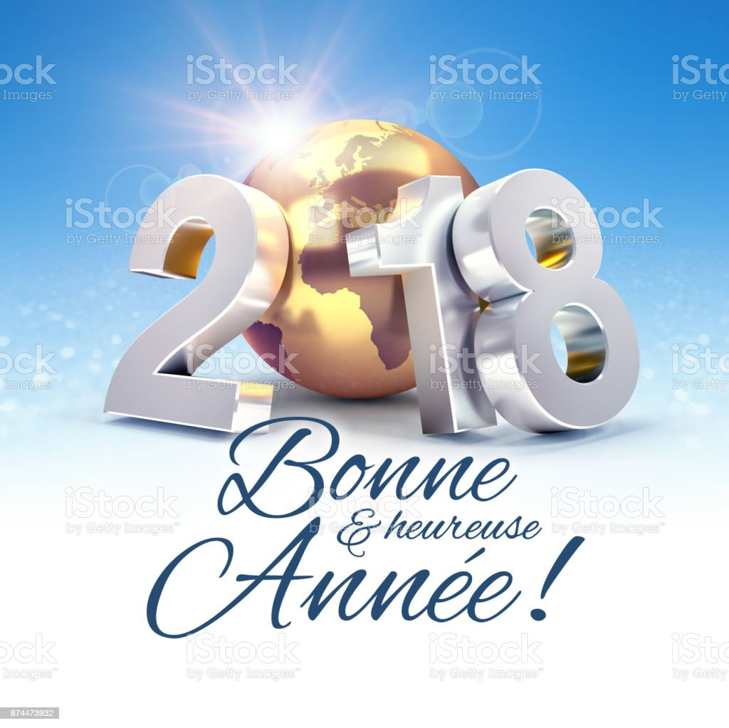 New Year 2018 Greeting Card In French Stock Photo More Pictures Of