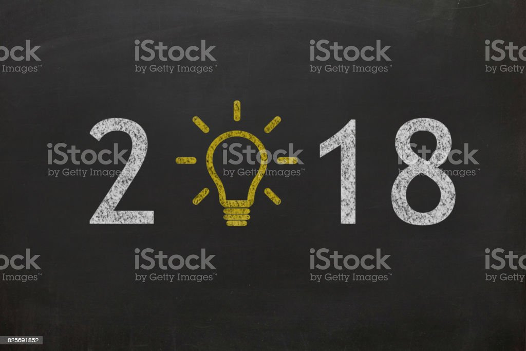 New year 2018 idea concept blackboard background stock photo