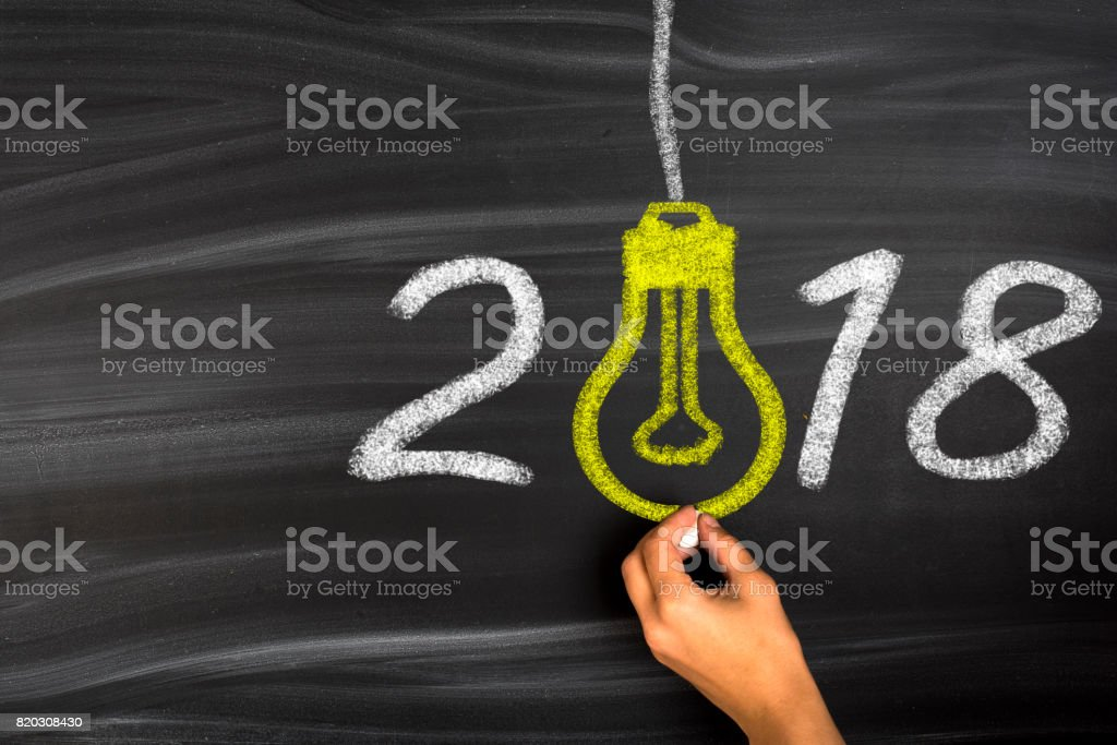 New Year 2018 Idea Concept on Chalkboard Background stock photo