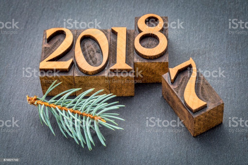 new year 2018 in wood type stock photo