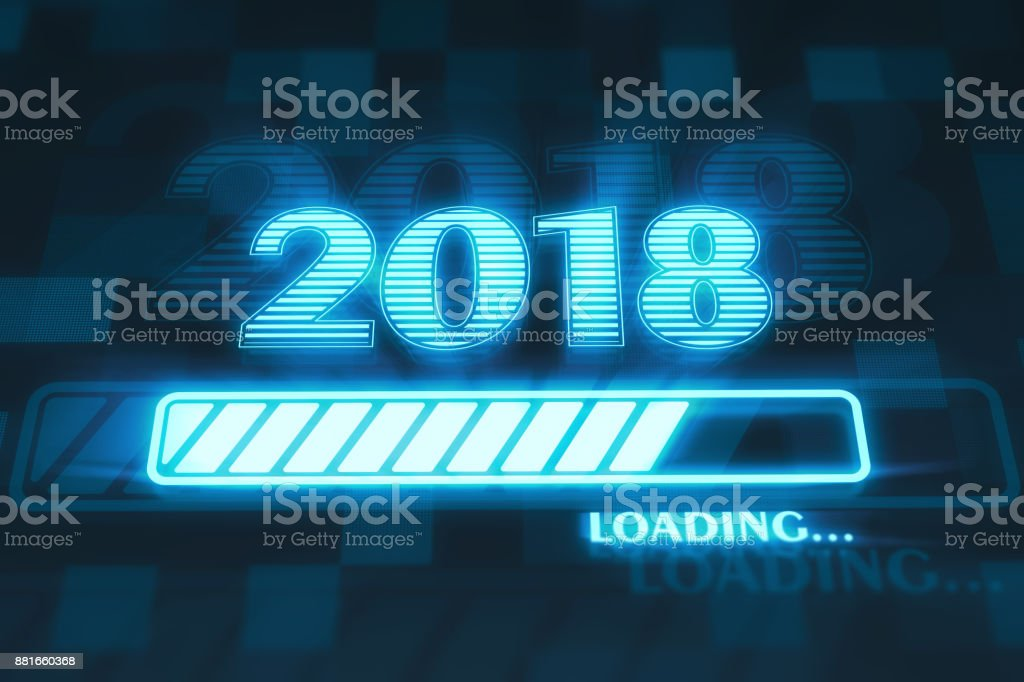 New year 2018 loading stock photo