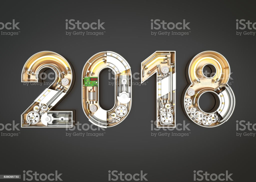 New year 2018 made from mechanical alphabet with gear. stock photo