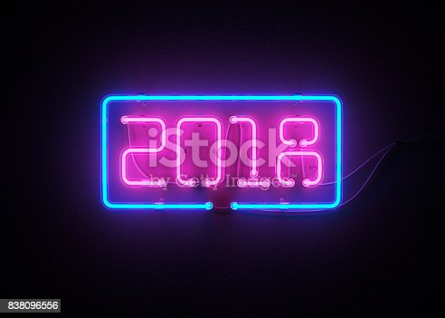 istock New year 2018 made from neon alphabet. 838096556