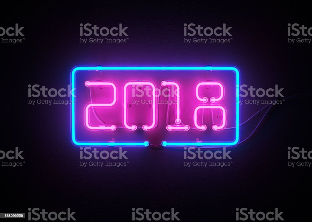 New year 2018 made from neon alphabet. stock photo