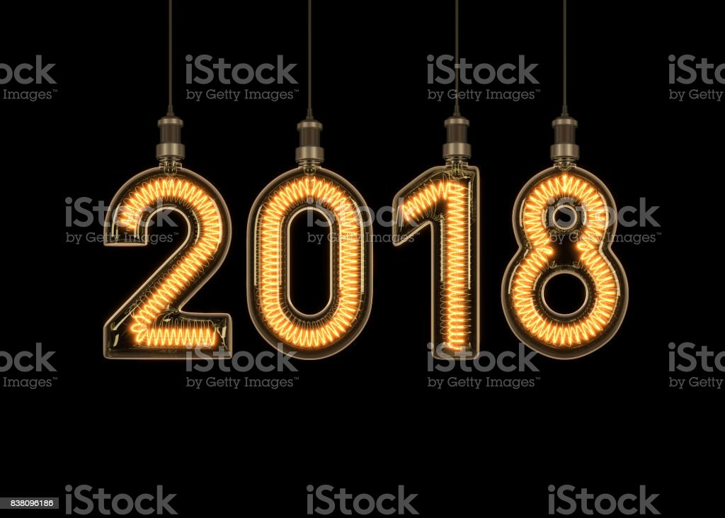 New year 2018 made of light bulb. stock photo