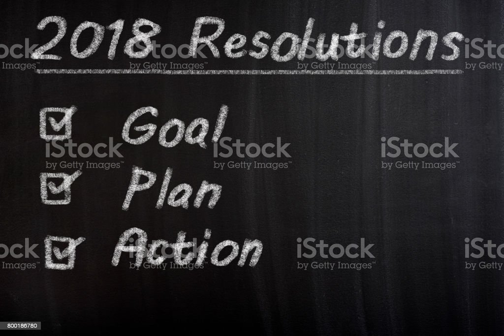 New Year 2018 Resolution Check List stock photo