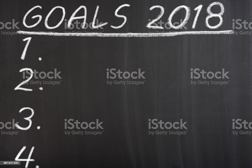 New year 2018 resolutions goal note stock photo
