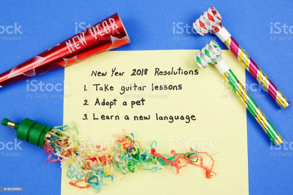 New Year 2018 Resolutions stock photo