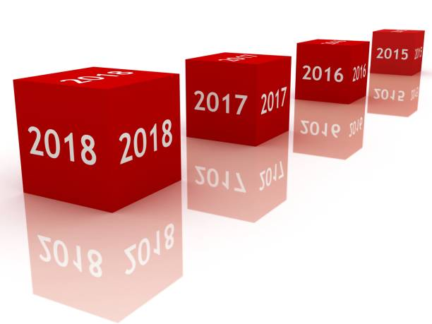New year 2018 white background stock photo