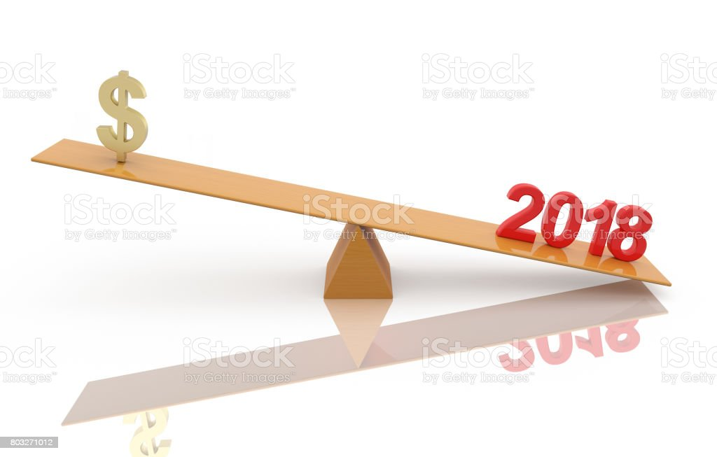 New Year 2018 with currency symbol stock photo