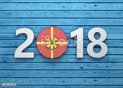 istock New Year 2018 with Gift Box 801597674
