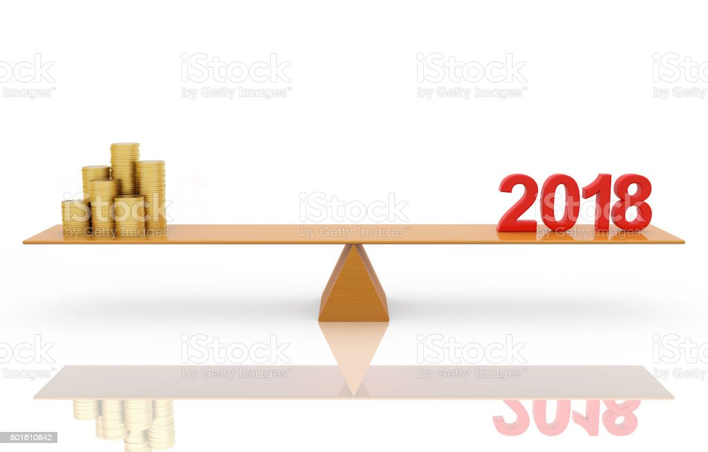 New Year 2018 With Gold Coin Stock Photo - Download Image