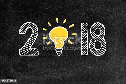 Ideas on New Year, Light Bulb, Blackboard