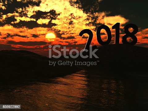 istock New Year 2018 with Sunrise 835922992