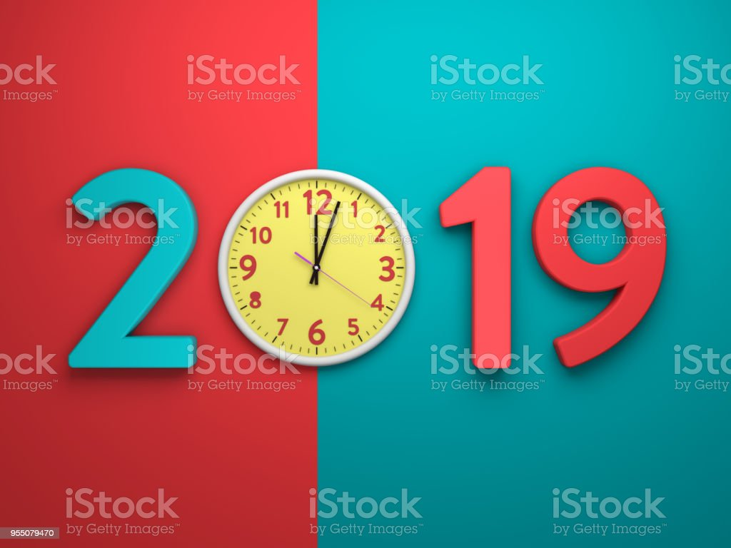 New Year 2019 - 3D Rendered Image stock photo