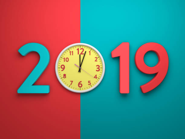 new year 2019 - 3d rendered image - new year day stock photos and pictures