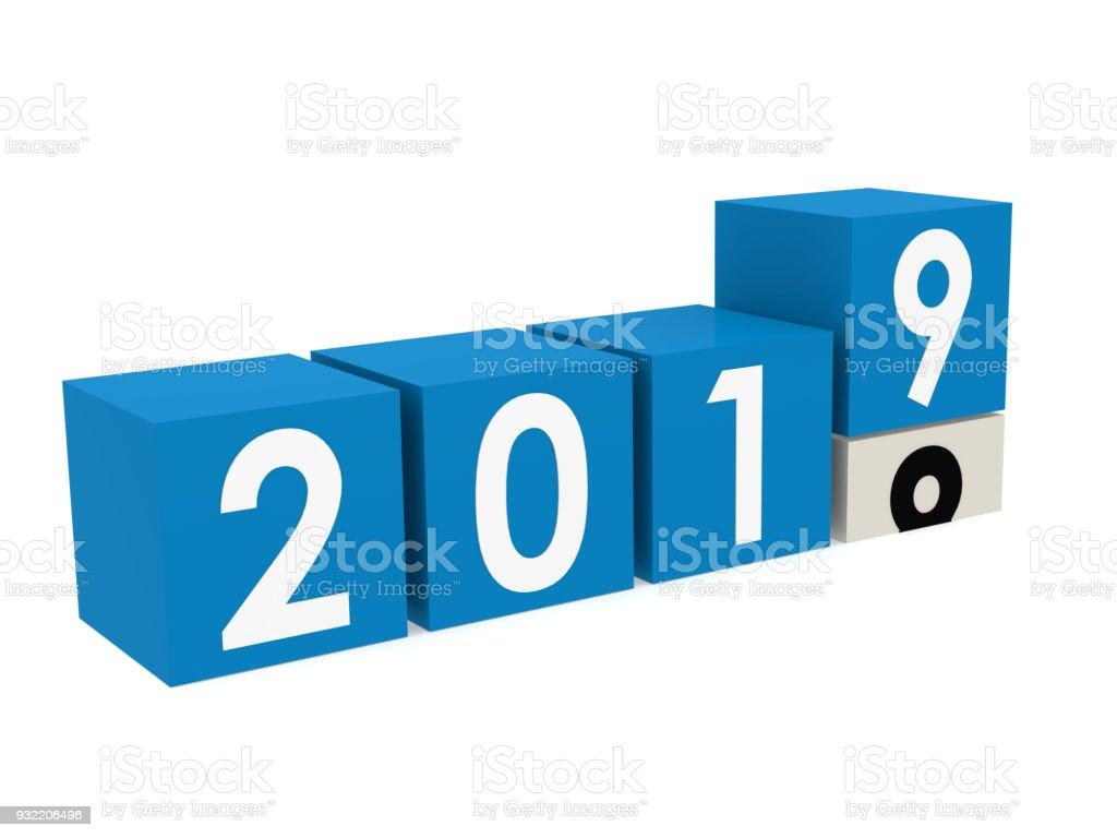 New year 2019 blocks in blue stock photo