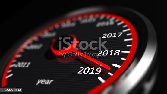 istock New year 2019 car speedometer. 3d illustration 1033275118