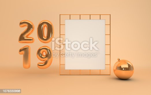 1043435102 istock photo New year 2019 celebration background. Gold metallic numerals 2019, white paper on golden grid, xmas decorative ball, pastel beige studio room. Illustration for New Year's and Christmas banners. 3d rendering. 1076330998