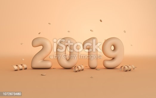 1029792184 istock photo New year 2019 celebration background. Matt plastic beige numerals 2019, floating confetti and ribbons, pastel colored studio room. Realistic trendy illustration for New Year's and Christmas banners. 3d rendering. 1072673480