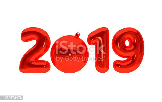 1029792184 istock photo New year 2019 celebration background. Red metallic foil numerals 2019 with xmas decorative ball solated on white. Trendy illustration for New Year's and Christmas banners. 3d rendering. 1072673478