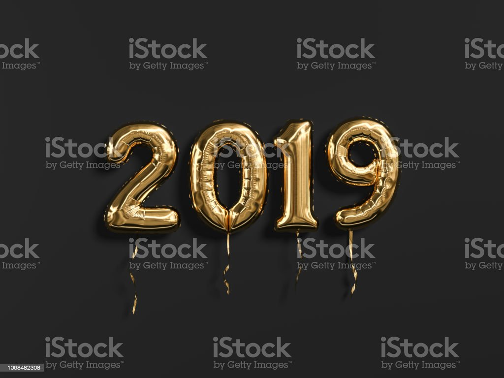 New year 2019 celebration. Gold foil balloons numeral 2019 and on black wall background.