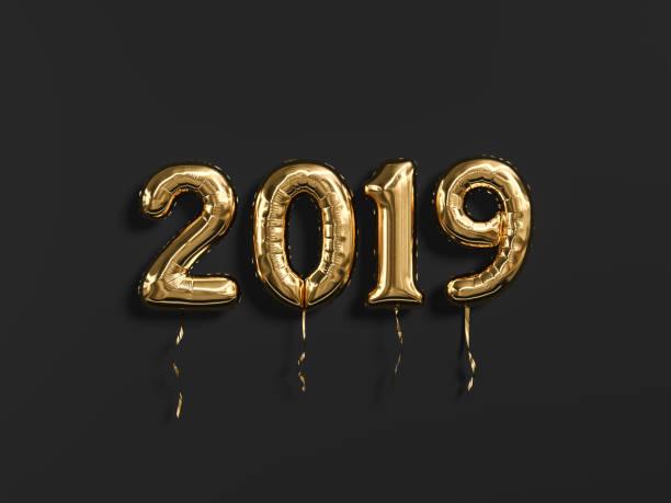 celebração de ano novo de 2019. folha de ouro numeral de balões 2019 e em fundo de parede preta. - 2019 - fotografias e filmes do acervo