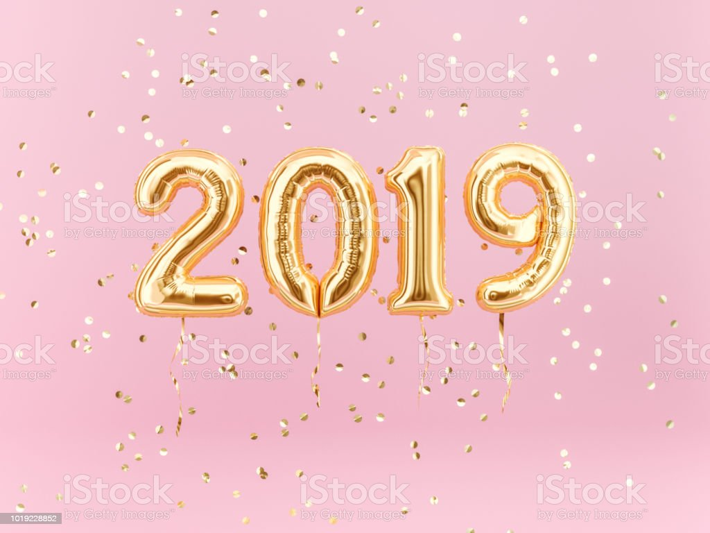 New year 2019 celebration. Gold foil balloons numeral 2019 and confetti stock photo