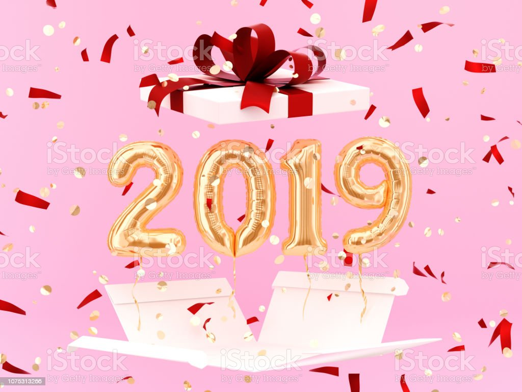 New year 2019 celebration. Gold foil balloons numeral 2019 stock photo