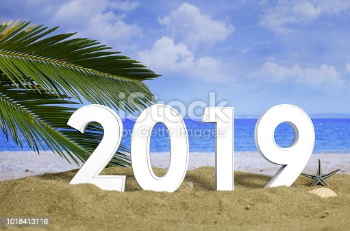 istock New year 2019 celebration on the beach, summer vacations. 3d illustration 1018413116