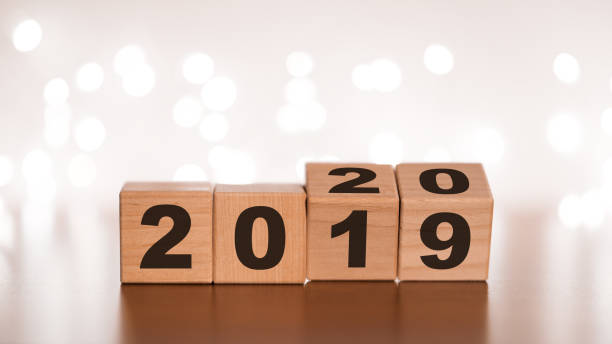 New year 2019 change to 2020 concept stock photo
