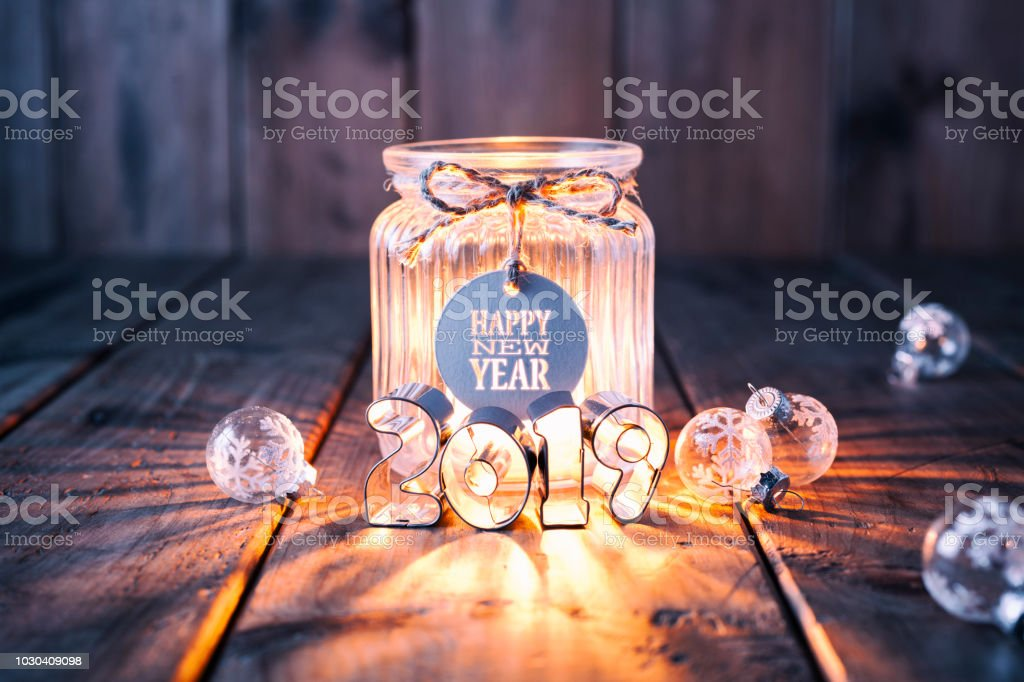 New Year 2019: Christmas decoration on old wood - Candle Jar Label Card royalty-free stock photo