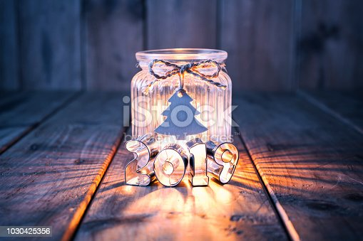 istock New Year 2019 - Christmas decoration on old wood - Candle Jar Label Card 1030425356