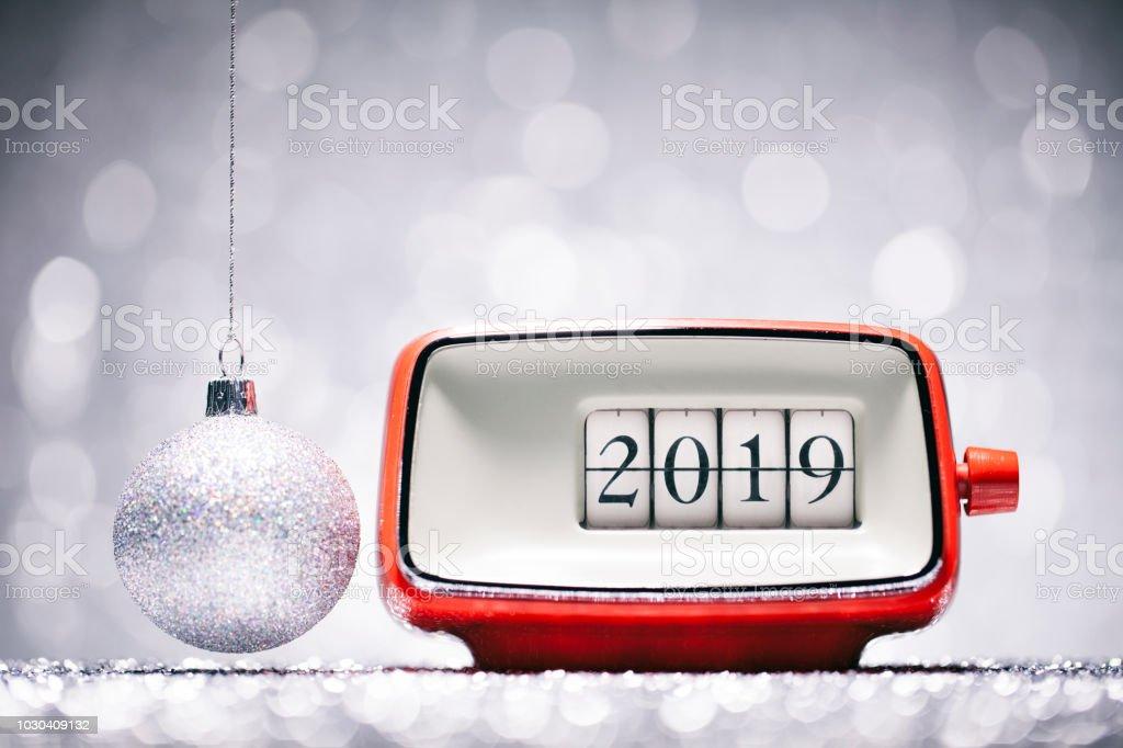 New Year 2019 - Christmas Retro Alarm Clock Celebration Defocused Red stock photo