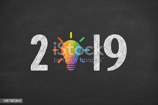 1069595584 istock photo New Year 2019 Creative Concepts on Blackboard Background 1057902642